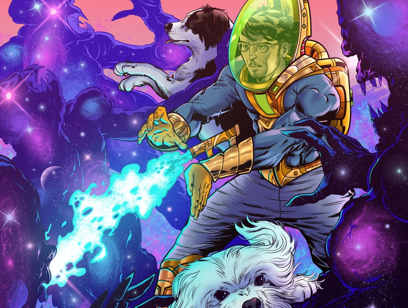 Nipri Music Illustration No. 2 fight astronaut spacesuit aliens dogs portrait musician dj music comic style comic sci-fi space colorful clip studio paint art color drawing photoshop illustration