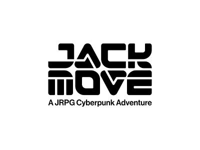 Jack Move logo chunky movement electricity jack move indie game black brand logomark retro future minimalist logo design typography cyberpunk branding vector 1980s retro jrpg video game logo