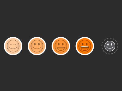 Moods icons glastonbury app orange faces mood smiley buttons