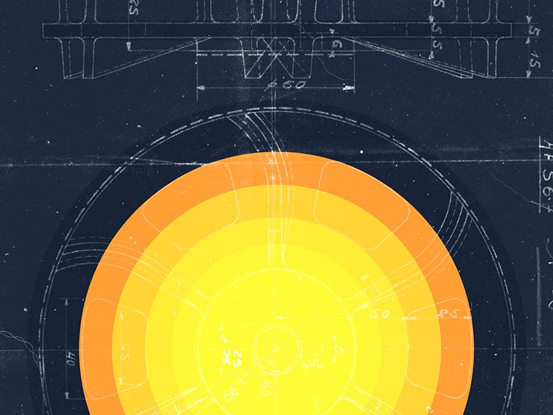 Solaris blueprint illustration vector planet sun