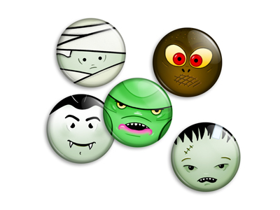 Horror buttons faces illustration monsters universal horror mummy dracula gillman frankenstein moleman