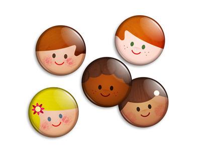 Retro kids buttons retro vintage kids faces illustration