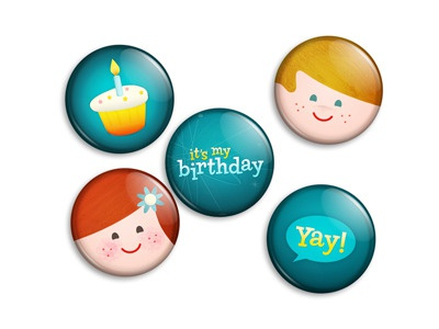 Birthday buttons retro vintage kids faces birthday cake candle illustration