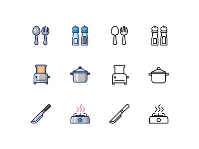 Kitchen utensil icons with filled line and outline style filled line outline design illustration restaurant chef cooking kitchen ui ux icons icon
