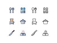 Kitchen utensil icons with filled line and outline style