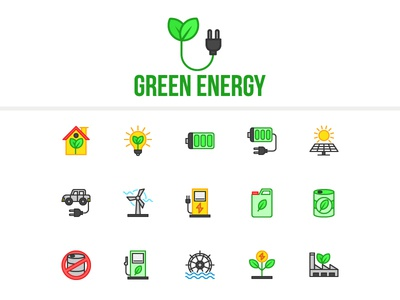 Green Energy iconset electricity power environtment ecology energy green design assets ui ux icons icon