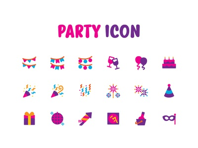 Party icon playful joy happy party icons icon