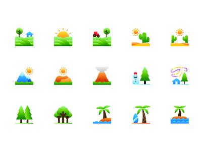 Nature icons illustration gradient ux ui landscape nature icons icon
