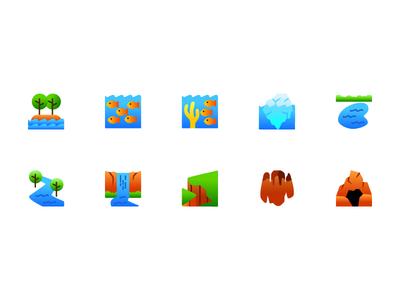 Nature Icons modern landscape nature ux ui illustration logo icons icon