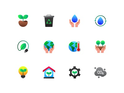 Ecology icons illustration app recycle nature green environtment ecology button ux ui icons icon