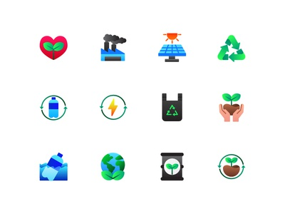 Ecology icons web ux ui environtment green earth ecology illustration icons icon