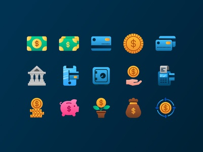 Finance Icons design gradient finance button ui web icons icon icondesign