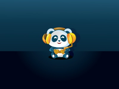 Panda with Headphone icon illustration illustrator mascot clean headphone panda