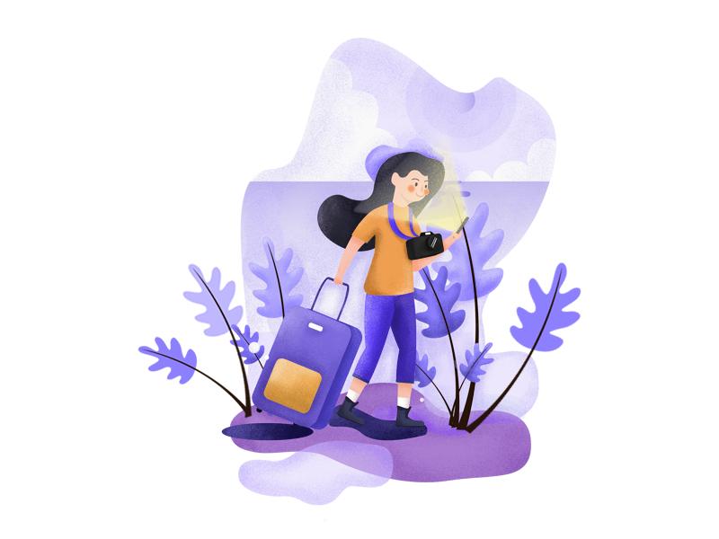 Take a trip camera purple suitcase plant person sky girl illustration