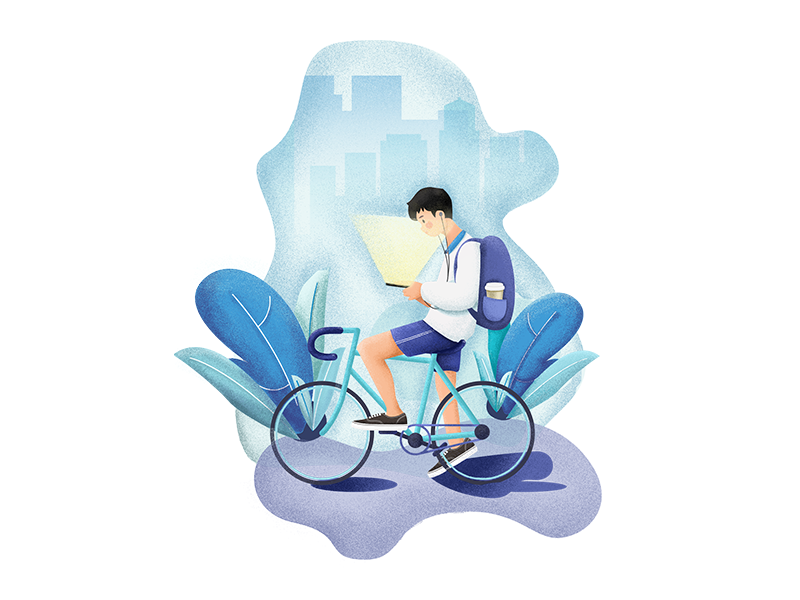 listen to the music clean blue backpack plant person bicycle boy illustration
