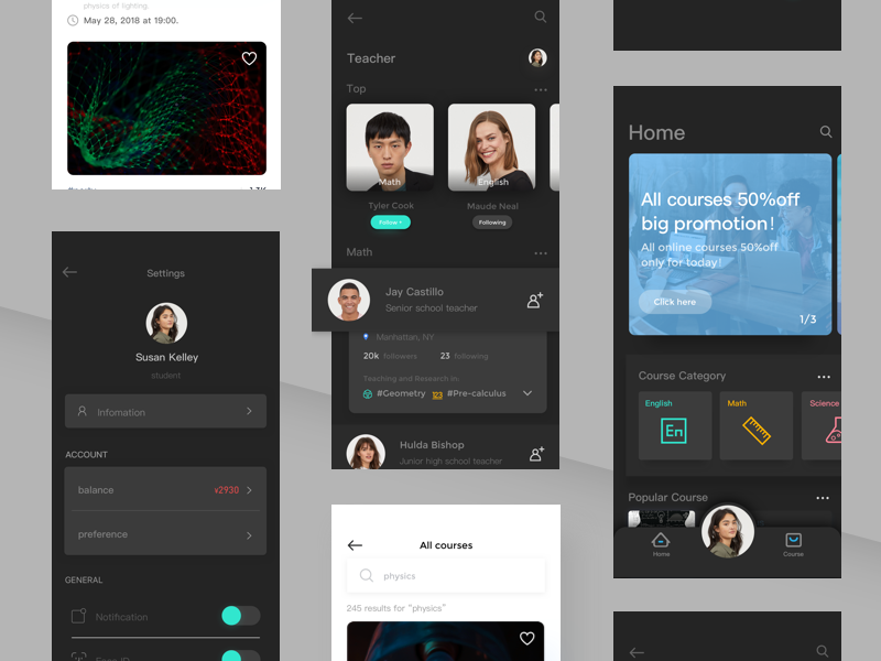 Online Education app (night mode) course night mode online education