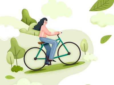 La vie en menthe green colorful clean illustration