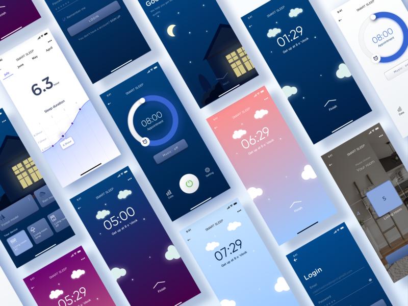 Smart home-Smart sleep 4 sleep smart home app colorful blue clean