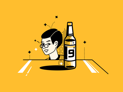 BEER!!!!!!!!!!! yellow colorful clean illustration