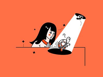 Gentleman, Follow me, please clean colorful orange red illustration