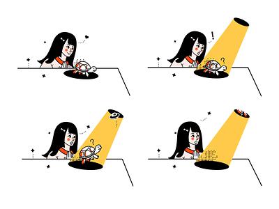 Gentleman, Follow me, please yellow colorful design illustration