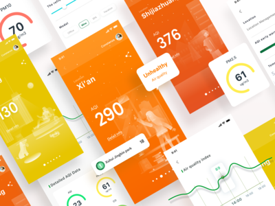 Air Quality Monitoring APP illustration data yellow red orange colorful ui air quality