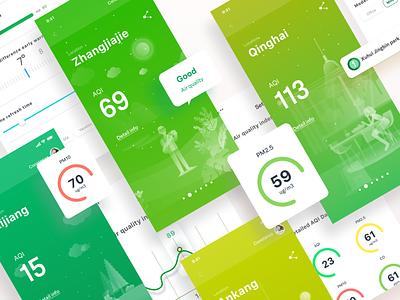 Air quality monitor App ui green