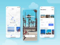 Travel app app ui blue clean