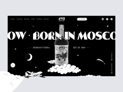 Vodka 495, main page white black clean interface vector promo cocktails design motion design illustrations ui ux uiux black and white vodka chipsa website userinterface