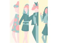 Time Travel with Fashion procreate illustraion