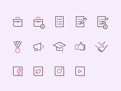 [Icon Set] Amanda Louisi social media icon set minimal website interface user ui ux geometric icons