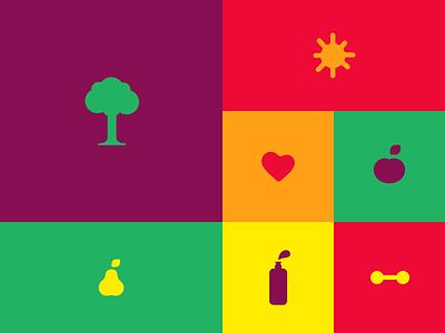 [Brand Identity] Sal+Doce icon set colorful minimalism interface ui ux branding brand health nature icon