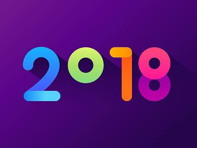 2018 logo gradient colorful type logotype 2018 new year typography