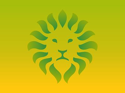 Lion + Leafs + Aroma colorful gradient symbol logotype leafs natural tea logo lion
