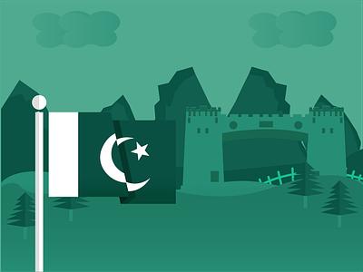 Pakistan Flag and Babe Khyber Illustration pakistani khyber illustration art illustration babe khyber pakistan flag