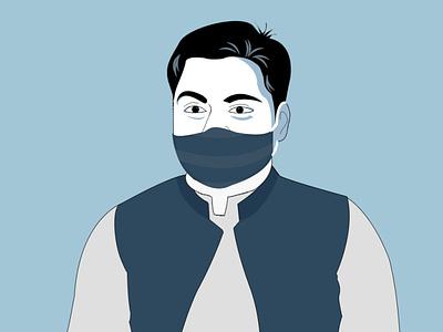 Self Illustration with Mask   Hammad Ali Shah covid19 hammad ali shah vector virus coronavirus mask illustration
