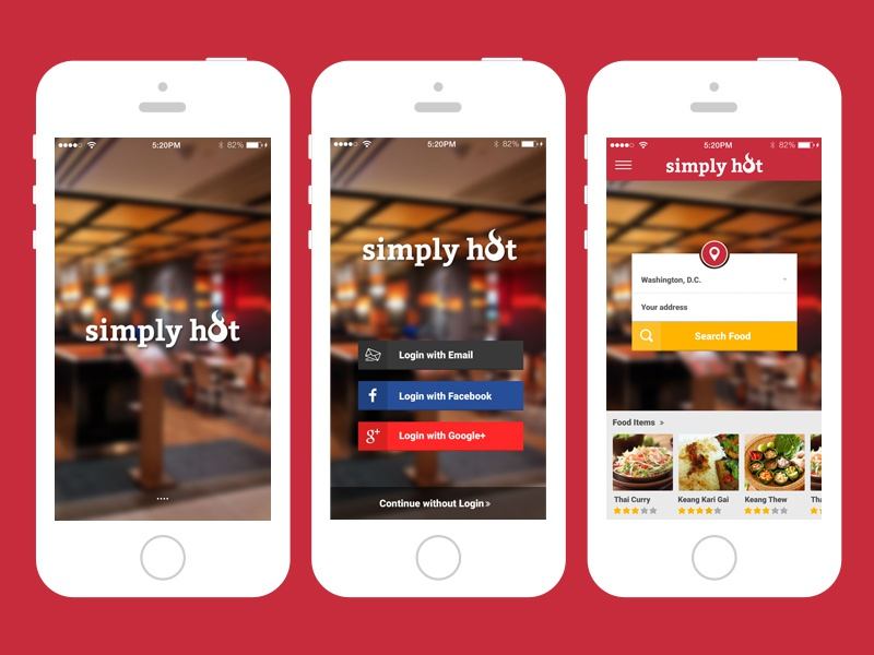 Simply hot app ux ui design by t w s dribbble dribbble - Funformobile com login ...
