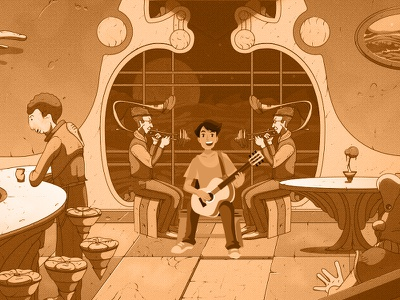 Singin' in the Club ui prople illustration instruments guitar singer clean club
