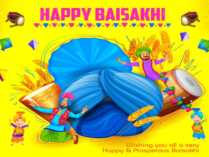 Happy Baisakhi ui festival baisakhi happy design graphic dhol character banner bhangra