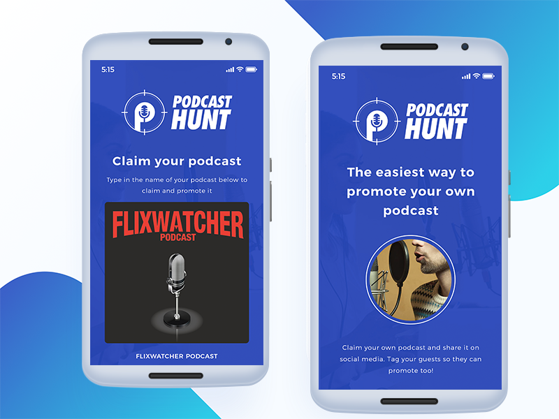 Podcast Hunt - App Design combination typography color design uiux app music app