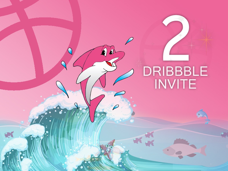 2 Dribbble Invite combination colors palette fish  water  transparency illustration  invite gradients dribbble colors
