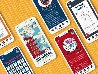 Japanese Writing Companion improving writing kanji katakana hiragana japanese learning ui illustration ux mobile design guadalajara mexico