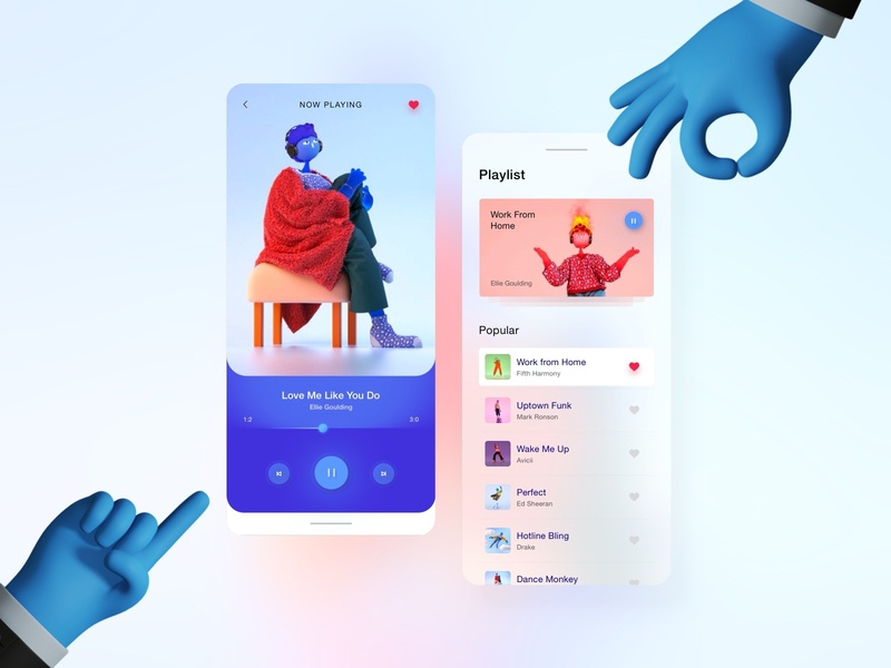 Blurr Series - Music Player design app ux design ux ui design ui simple progress mobile minimal illustration clean gradient card blur gradient blur app bar 3d illustration 3d
