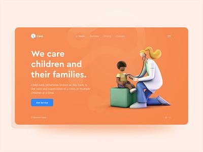 Care - 3D UI Design web ux design ui typography render minimal illustraion header hero clean browser web design 3d illustration 3d design 3d character 3d