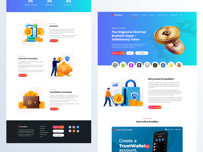 Crypto Landing Page Redesign - EverRise illustration clean web design ui design design ux redesign concept landing page design blockchain trade cryptocurrency website redesign website everrisecoin ever ui minimal redesign cyrpto
