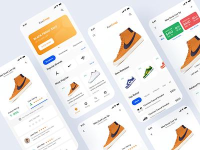 Shoe Selling App - KawSwap web design design ux ui design minimal ui store shop minimal ui clean attractive mobile app addidas nike trade shoe selling shoe
