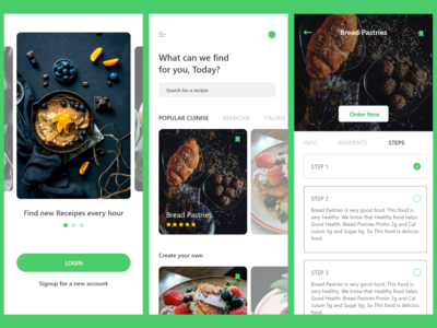 Cooking App Design - IOS clean app design ux resturant recipes cooking minimal design clean ui app