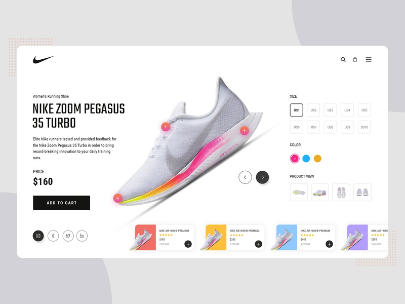 Nike Zoom Shoe Design typography branding design web design designers creative agency website nike shoe nike shoe shoe ui ui design ui clean minimal