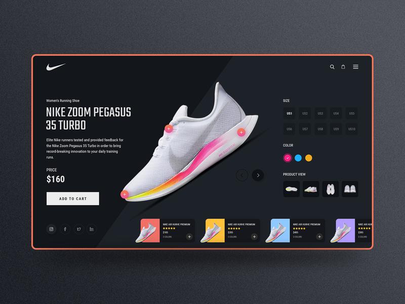 Nike Zoom Shoe Design Dark UI by Easin Arafat on Dribbble