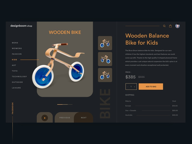 Wooden Bike Dark UI - Black dark black wooden bike wooden web design ux ui product design platform minimal kids illustration graphics ecommerce design dashboard clean cart branding bike